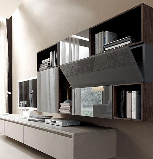 Twenty living moderni modulnova living modulnova living for Parete attrezzata classica contemporanea