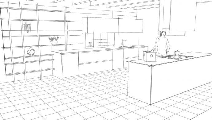 Disegnare cucina 3d simple un d prospettiva punto singolo for Disegnare una cucina in 3d